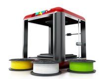 3D printer en extra gloeidraden 3D Illustratie Royalty-vrije Stock Afbeelding