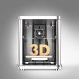 3D printer en stevige die 3D tekst op grijze achtergrond wordt geïsoleerd Stock Foto
