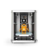 3D printer en stuk speelgoed gele robot binnen Stock Afbeelding