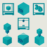 3D Printer flat blue icons set. 3d printing symbols Stock Images