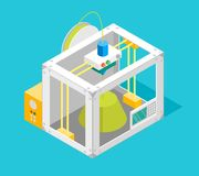 3d Printer Flat Design Style Isometric View. Vector. 3d Printer Flat Design Style Isometric View on a Blue Background Design Modern Innovation Technology Concept Royalty Free Stock Photography
