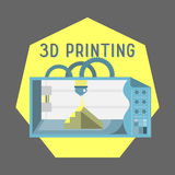 3d printer flat style on colored background Stock Photo