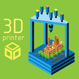 3d printer flat style on colored background Stock Image