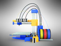 3d printer gele blauwe voor 3d geeft op grijze achtergrond terug Stock Foto's