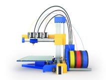 3d printer gele blauwe voor 3d geeft op witte achtergrond terug Royalty-vrije Stock Foto