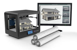 3d printer and house building, concept. Professional 3d printer that builds a house, a pc monitor with cad application and rolled building plans (3d render Stock Photos