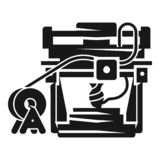 3D printer icon, simple style vector illustration
