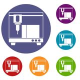 3D printer icons set Stock Photography