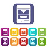 3D printer icons set flat Royalty Free Stock Photo