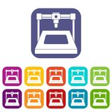 3D printer icons set flat Royalty Free Stock Images