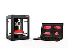 3D printer and laptop computer Royalty Free Stock Images