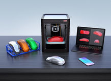 3D printer, laptop and product color samples Stock Image