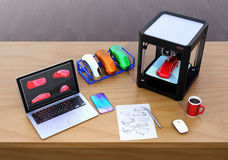 3D printer, laptop and product color samples. CMFColor, Material and Finish design process concept. 3D rendering image Royalty Free Stock Photo