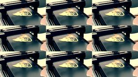 3D printer for liquid dough. 3D printer printing pancakes with liquid dough. Different shapes close-up. Multicam split screen group montage. Abstract animation stock video