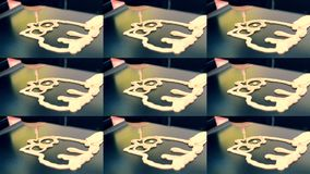 3D printer for liquid dough. 3D printer printing pancakes with liquid dough. Different shapes close-up. Multicam split screen group montage. Abstract animation stock footage