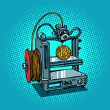 3D printer manufacturing bitcoin cryptocurrency. Comic book cartoon pop art retro illustration vector Stock Photo