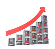 3D printer market progress chart isolated on white background Royalty Free Stock Image