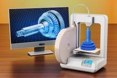 3d printer met computermonitor op de houten lijst 3D renderi Royalty-vrije Stock Foto's