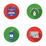 3D printer, newspaper printer, ink, pen. Typography set collection icons in flat style vector symbol stock illustration Royalty Free Stock Image