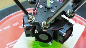 3D printer performs product creation. Modern 3D printing or additive manufacturing and robotic automation technology. Three dimensional printing is a new era stock video footage