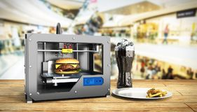 3D printer print burger 3d render Success food mace concept. 3D printer print burger 3d render Success food mace Royalty Free Stock Images