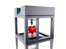 3D printer printed a heart. 3D Illustration. Three dimensional printer printed a heart. New techology concept.  white background Stock Photography