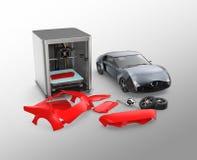 3D printer printing car body parts Royalty Free Stock Photo