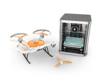 3D printer printing parts of drone Stock Photo