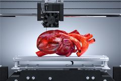 3D Printer Printing Realistic Heart. Futuristic Technologies. Three-dimensional Transplantology. 3d rendering