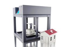 3D printer prints a house. 3D Illustration. Three dimensional printer prints a house. New technology concept. Isolated white background Royalty Free Stock Images