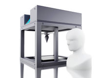 3D printer prints model of human head. 3D Illustration. Three dimensional printer prints model of human head. New technology concept. Isolated white background Stock Photos