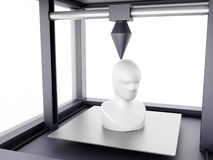 3D printer prints model of human head. 3D Illustration. Three dimensional printer prints model of human head. New technology concept.  white background Royalty Free Stock Photo