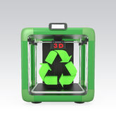 3D printer and recycle mark isolated on gray background.  Stock Photography