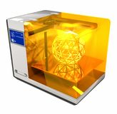 3d Printer 3D Render. A computer generated image of a 3d printer producing an icosphere royalty free stock photography