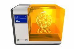 3d Printer 3D Render. A computer generated image of a 3d printer producing an icosphere stock images
