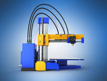 3d the printer on the right. 3D render on blue background Royalty Free Stock Photos