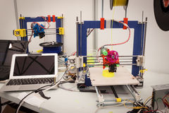 3d printer at Robot and Makers Show. MILAN, ITALY - MARCH 30: 3d printer on display at Robot and Makers Milano Show, event dedicated to robotics and makers on Royalty Free Stock Photography