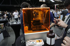 3d printer. SEPTEMBER 29, 2013 - BERLIN: a 3d printer of the company Formlabs on display at the conferece Disrupt Europe: Berlin 2013 by TechCrunch, Arena Royalty Free Stock Image