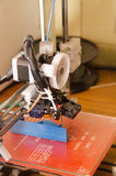 3D Printer side. Side view of a 3D printer after completing a print stock photography