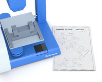 3d printer, from sketch to prototype Royalty Free Stock Image