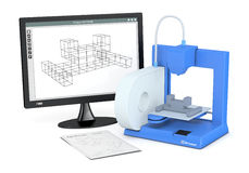 3d printer, from sketch to prototype. One 3d printer with a sketch document and a computer monitor with a cam software (3d render Royalty Free Stock Photography