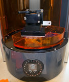 3D Printer (SLA and DLP). Stereolithography (SLA) and Digital Ligh Processing (DLP) is a form of additive manufacturing technology used for creating models royalty free stock photography