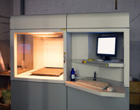3D Printer (SLA and DLP). Stereolithography (SLA) and Digital Ligh Processing (DLP) is a form of additive manufacturing technology used for creating models Stock Photo