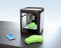 3D printer, slimme telefoon en 3D steekproefmodel Stock Foto's