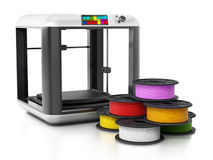 3D printer and spare filaments. 3D illustration.  Royalty Free Stock Photos