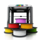 3D printer and spare filaments. 3D illustration.  Stock Image