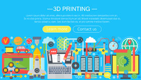 3d printer technology flat concept set. 3d modeling, printing and scanning web header. 3d printer technology flat concept set. 3d modeling, printing and Stock Photos