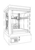 3D printer. Three dimensional printing machine on a white background Stock Images
