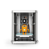 3D printer and toy yellow robot inside Stock Image