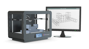3d printer, van schets aan prototype Stock Fotografie